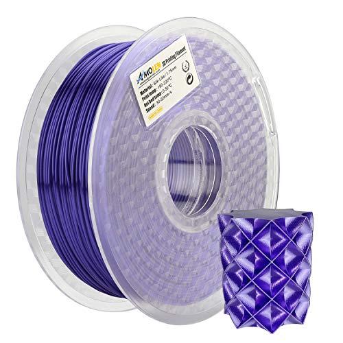 AMOLEN 3D Printer Filament, Silk Purple 1.75mm PLA Filament +/- 0.03 mm, 1KG(2.2LB), Includes Sample Glow in The Dark Blue Filament - 100% USA