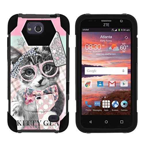 TurtleArmor | ZTE Majesty Pro Case [Dynamic Shell] Hard Hybrid Kickstand Silicone Impact Cover Protection Girl Designs - Hipster Cat