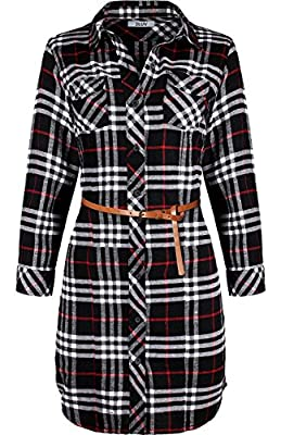 2LUV Women's 3/4 Sleeve Belted Plaid Flannel Shirt Dress