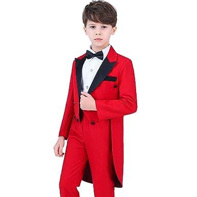 fe28ec873abe2 Cnstone 子供タキシード フォーマルスーツ キッズ スーツ 男の子 赤 レッド 燕尾服 結婚式 発表会 コンクール