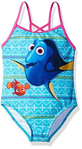 Finding Dory Nemo Girls Swimwear Swimsuit (Little Kid) (6X, Blue/Pink One Piece)