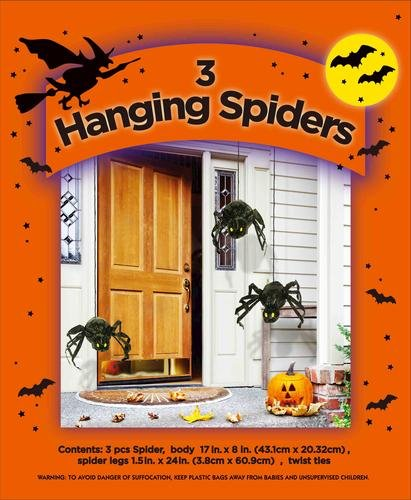 Scary Halloween Stuff (3 HANGING SPIDERS SET STUFF YOUR OWN HALLOWEEN DECORATION INDOOR OUTDOOR SCARY DECOR)