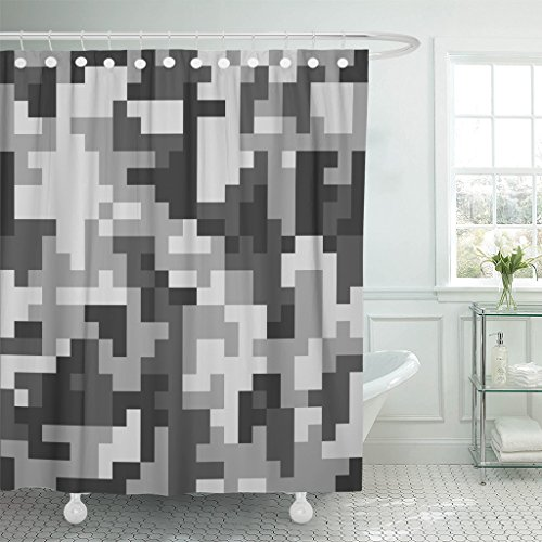Mask Paintball Usa Flexible (Emvency Fabric Shower Curtain Curtains with Hooks Abstract Pixel Camo Grey Urban Camouflage American Army Bandana Brush Camoflage Camoflauge Canvas 72