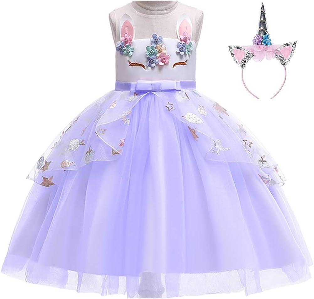 YIJODM Flower Girls Unicorn Costume Dress Evening Party Halloween Tutu Dress Tulle with Headband