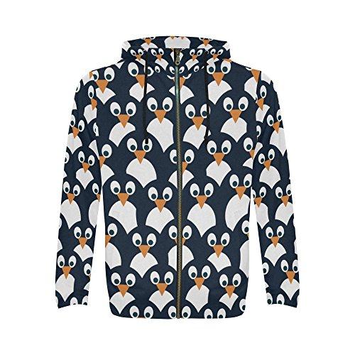 InterestPrint Penguin Pattern Print Full Zip Hoodie Sweatshirt for Men (Up Zip Hoodie Penguin)
