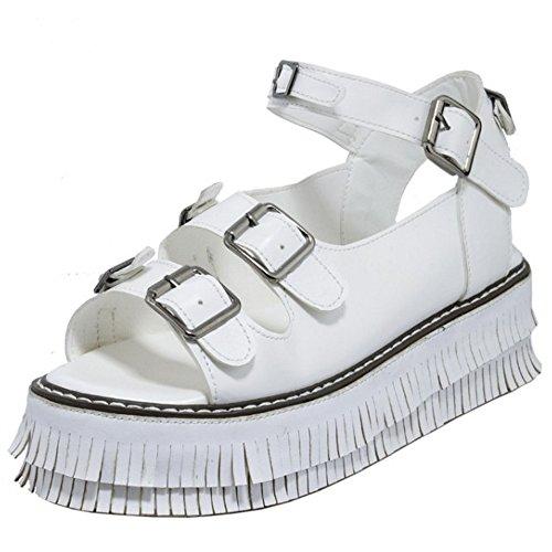 TAOFFEN Mujer Retro Plataformaa Hebilla Franja Sandalias Talon Abierto Verano Zapatos Blanco