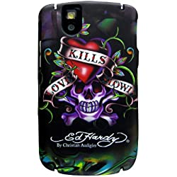 Ed Hardy Faceplate for BlackBerry Tour 9630 - Large Love Kills Slowly Tattoo - Black