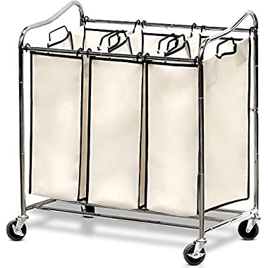 SimpleHouseware Heavy-Duty 3-Bag Laundry Sorter Cart, Chrome