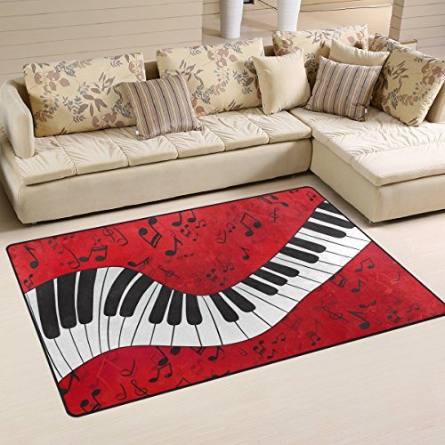 Naanle Music Theme Area Rug 3'x5', Music Note Piano Keyboard Polyester Area Rug Mat for Living Dining Dorm Room Bedroom Home Decorative -