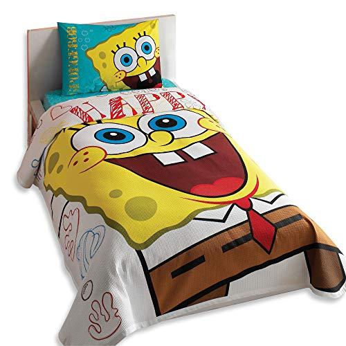 - Sponge Bob Single/Twin 100% Cotton Bedding Quilted Bedspread/Coverlet Set 3 Pcs