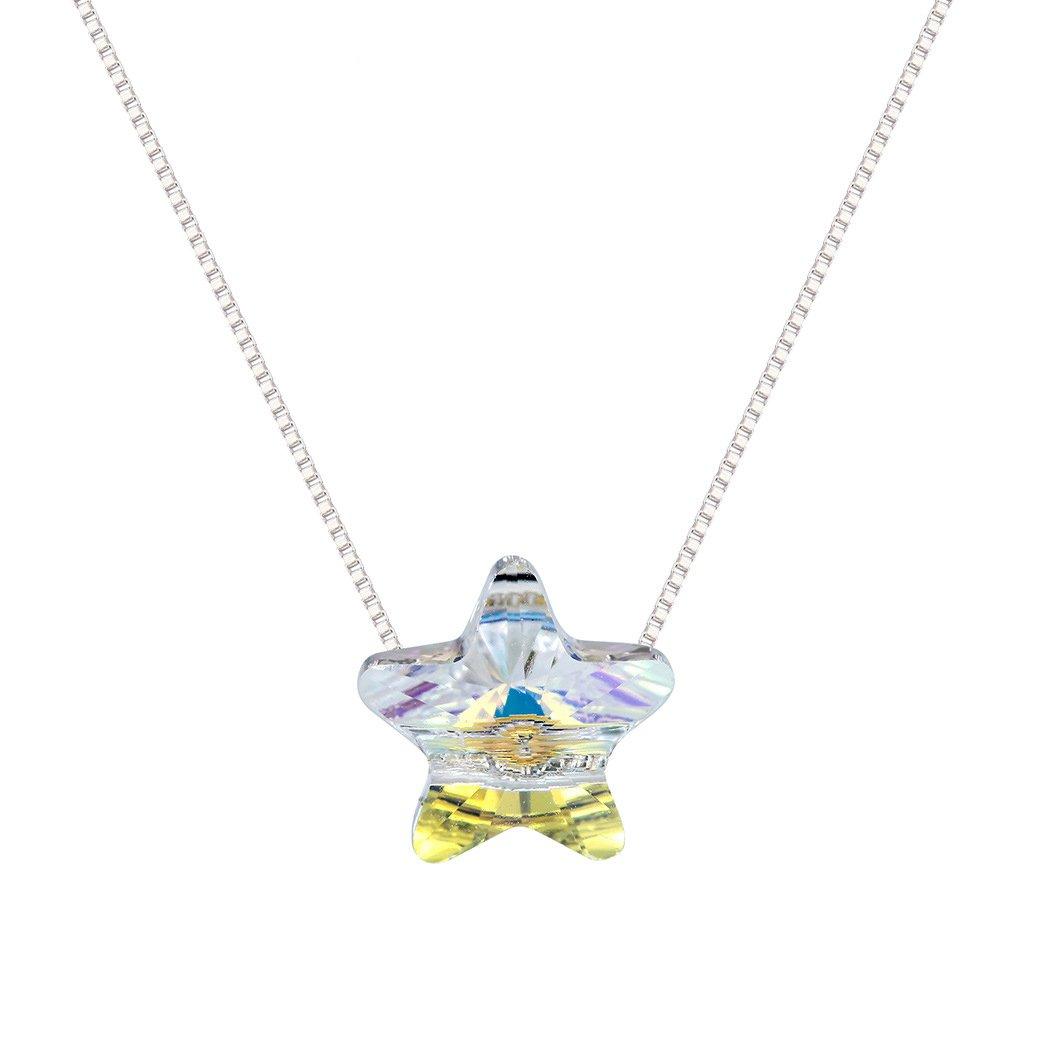 BONFASH Womens Girls Necklace Sterling Silver Pentagram Pendant Necklace for Girls Women Made with Swarovski Element Crystal