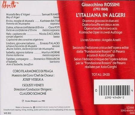 Amazon.com: Rossini - LItaliana in Algeri / Horne · Ramey ...