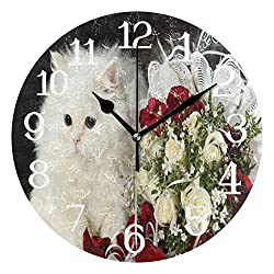 Ernest Congreve Wall Clock Cat Flower Roses Silent Non Ticking Decorative Round Circle Digital Clocks Battery Operated Indoor Outdoor Kitchen Bedroom Living Room Wall Decor 10 inch