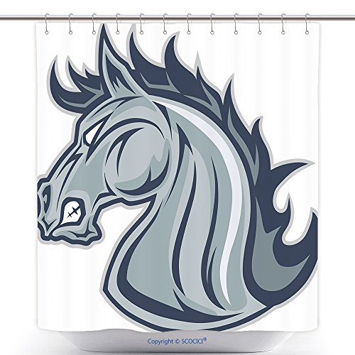 Mascot Costumes Ebay (Fun Shower Curtains Horse Or Mustang Head Mascot 410350756 Polyester Bathroom Shower Curtain Set With Hooks)