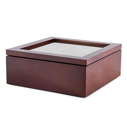 9-Compartment Tea Coffee Storage Box Tea Organizer Cherry-Lee Wooden Tea Box Tea Bag Box Tea Storage Chest Box
