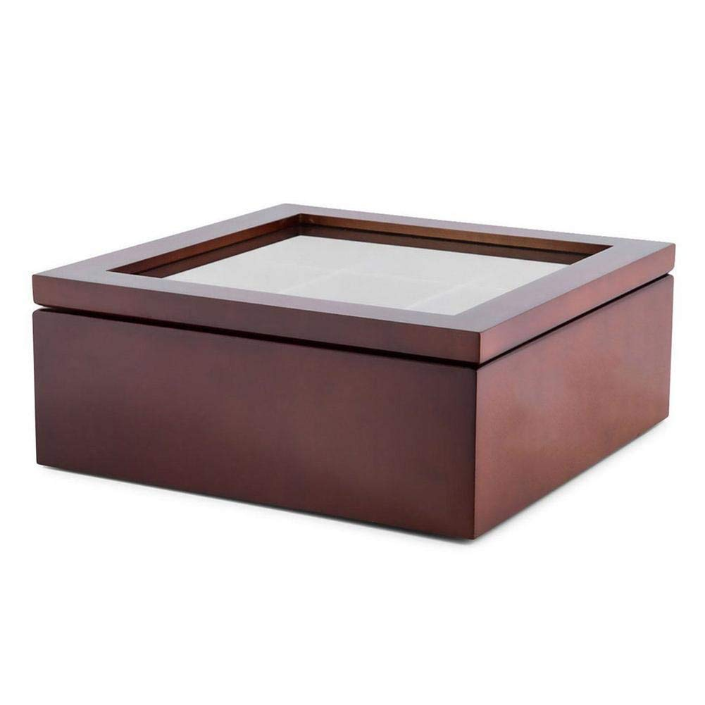 9-Compartment Tea Coffee Storage Box Tea Organizer, Cherry-Lee Wooden Tea Box Tea Bag Box Tea Storage Chest Box