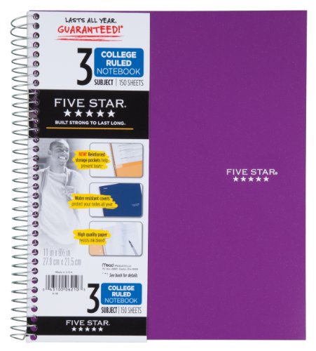 043100062103 - Five Star Spiral Notebook, 3 Subject, 150 College Ruled Sheets, 1 Notebook, Assorted Colors (06210) carousel main 4