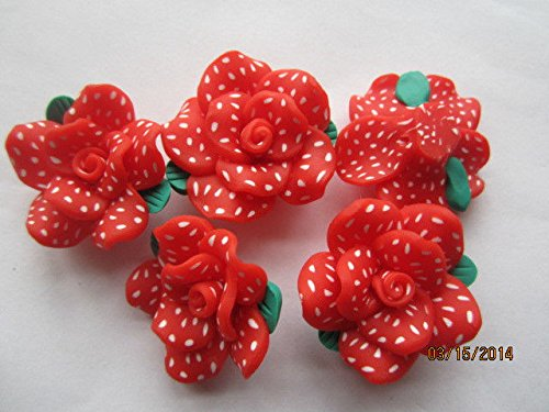 Poka Dots Fimo Poly Clay Rose Flower Beads for Jewelry Making, Supply for DIY Beading Projects 35mm 5pc ()