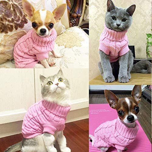 Aiwind Dog Cat Sweater Warm Braid Plait Turtleneck Knitwear Soft Fall Pullover Winter Pet Clothes for Dog Puppy Kitten Cat 19