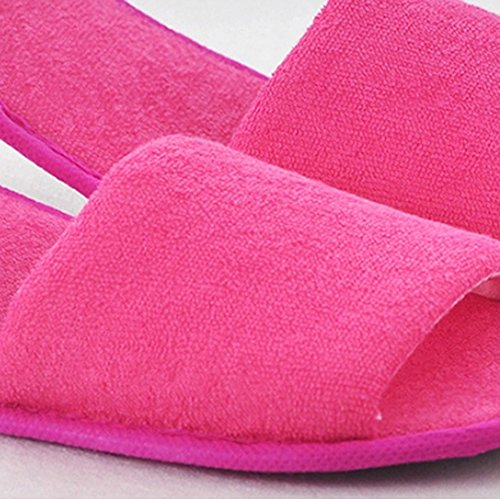 Comfysail Unisex Foldable Soft Slippers with Portable Bag Cotton-Padded Flip Flop Travel Shoes for Home Hotel Red BG1iZRpV