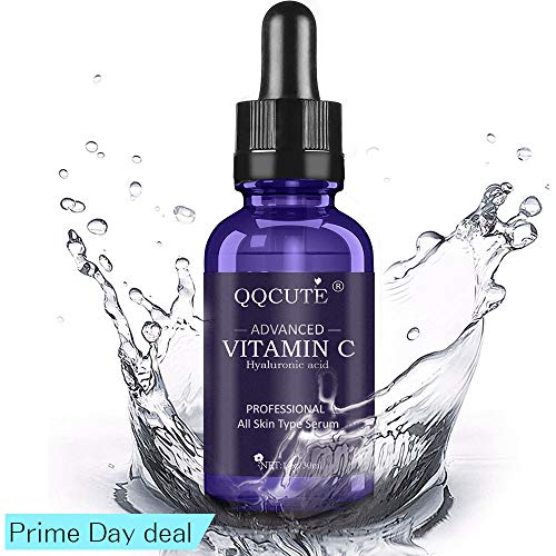 QQcute 30% Vitamin C Serum with Hyaluronic Acid for Face, Natural and Organic Skin Care for Anti Aging, Anti-Wrinkle, Intense Moisture, Topical Eye & Facial Treatment Serum(1 fl. oz)
