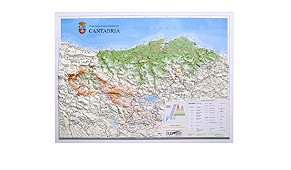 Mapa en relieve de Cantabria: Escala 1:240.000: Amazon.es: All 3D Form, S.L.: Libros