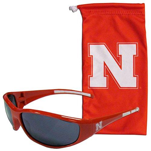 NCAA Nebraska Cornhuskers Adult Sunglass and Bag Set, - Nebraska Sunglasses