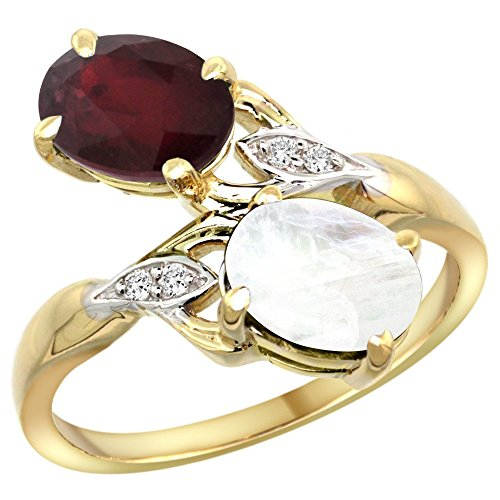 14k Yellow Gold Diamond Enhanced Genuine Ruby & Natural Rainbow Moonstone 2-stone Ring Oval 8x6mm, size 9 - Moonstone Ruby