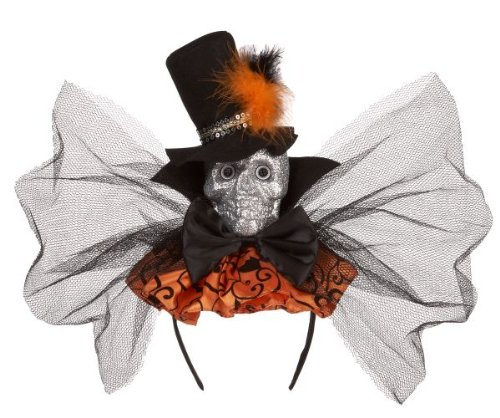 Ganz Glitter Skull Halloween Black and Orange Headband Fa...