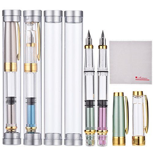 (Wing Sung 3008 Thin Piston Fountain Pen Set of 4 Pieces in 4 Colors)