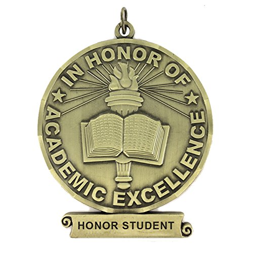 3 inch in Honor of Academic Excellence Medal with Honor Student Imprint Comes with Ribbon - Pack of 6 (Gold)