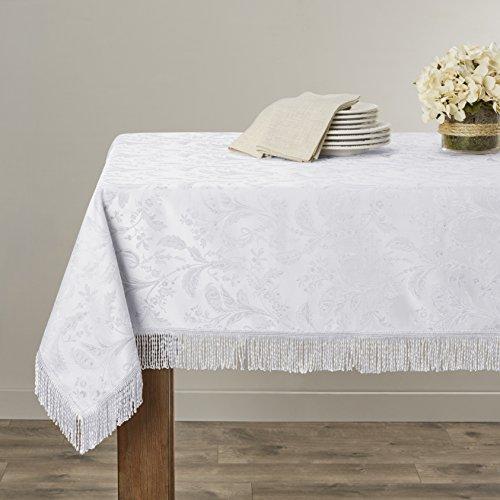 Violet Linen Luxury Damask Design Oblong/Rectangle Tablecloth, 60