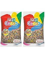 MIL CORES Confeitos Granulados Colorido Crocante 150 gr. - 2 PACK   Confectionery Sprinkles - Gluten Free - 2 PACK.