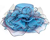 Seven Flowers Kentucky Derby Hat Women Church Wedding Party Hats (12-Blue)