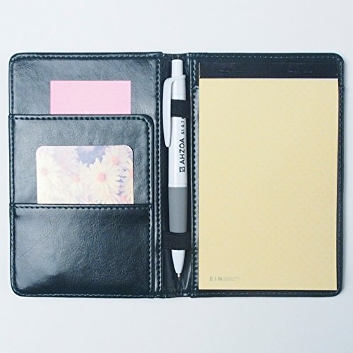2 Pockets A6 Memo Padfolio E1 With Pencil, Synthetic Leather Handmade 4.13 X 6.1 Inch Folder Clipboard Writing Pad (khaki)