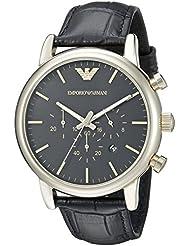 Emporio Armani Mens AR1917 Dress Black Leather Watch
