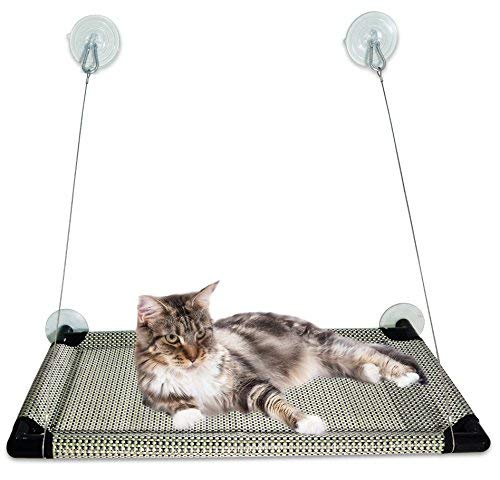 Kalmia Premium Cat Window Perch| Large Bed Hammock Design for Any Cat Size| Deluxe Waterproof Breathable Woven Fabric| Giant Suction Cups| Just The Best Window Cat Seat