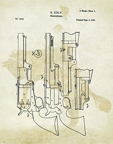 Colt Revolver Patent Poster Art Print Reproduction Hunting Sporting Clays Thrower 11x14 Wall Decor Pictures
