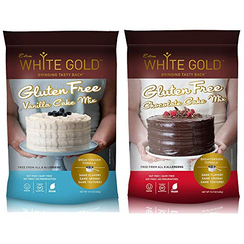 (Extra White Gold Gluten Free Cake Mix - For Baking Cakes Cupcakes Desserts - [Kosher] [Gluten Free] [Vegan] [Soy Free] [Nut Free] [Dairy Free] - Variety Pack, 15.9 Ounces each (2 pack) )