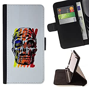 BullDog Case - FOR/Samsung Galaxy S6 / - / SKULL WOW TIME GREY BLACK RED YELLOW /- Monedero de cuero de la PU Llevar cubierta de la caja con el ID Credit Card Slots Flip funda de cuer