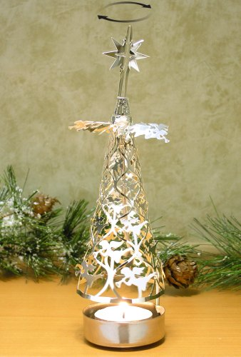 Spinning Christmas Tree Candle Holder with Angels Scandinavian Design by Banberry Designs
