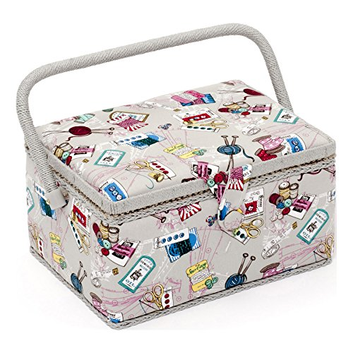 Medium Sewing Basket Notions Print 18.5 x 26 x 15cm | Sewing Online MRM/120 Groves Asia MRM\120