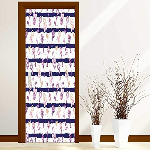 (Stickers Home Door Decoration Collection Old Medieval Vintage Keys with Ribbons and Diamonds Striped Pattern French Style for Living Bedroom W17.1 x H78.7 inch)