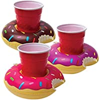 3 Pack BigMouth Inc. Inflatable Donut Drink Holder Float for Pool Parties