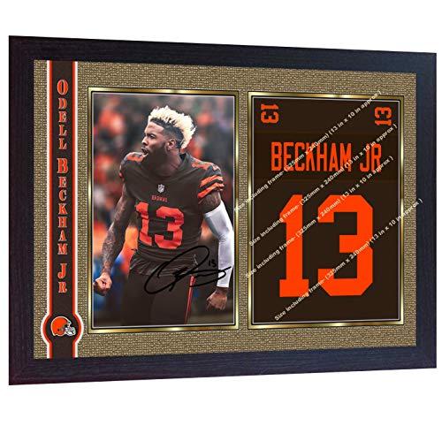 S&E DESING Odell Beckham Jr Cleveland Browns NFL Signed Autographed Photo Print Framed