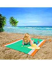 OUSPT Beach Blanket, Sand Free Picnic Outdoor Mat- Large 78.7 x 82.6/78.7 x 98.4 inch- Pocket Zippered Portable Waterproof Soft Fast Drying Nylon Oversize Blanket for Travel Camping Hiking