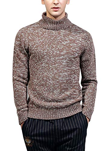 Mens Knitwear Knitted Pullover Crew-Neck Long Sleeve High Roll Neck Jumper Autumn Winter Sweater Coffee XL