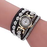 NACOLA Womens Watches,Multilayer Bracelet Rhinestone Leather Casual Watch Wristwatch Rhinestone Clock Gift