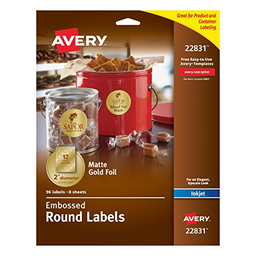 Avery Embossed Round Labels, Matte Gold Foil, 2-Inch Diameter, 96 Labels (22831) -