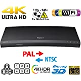 SAMSUNG K8500 UHD - Wi-Fi - Dual HDMI - 2K/4K - Region Free Blu Ray Disc DVD Player - PAL/NTSC - USB - 100-240V 50/60Hz for World-Wide Use & 6 Feet Multi System 4K HDMI Cable